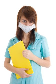 Free The Young Attractive Nurse With A Folder Isolated Royalty Free Stock Images - 5065449