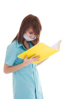 Free The Young Attractive Nurse With A Folder Isolated Royalty Free Stock Images - 5065459