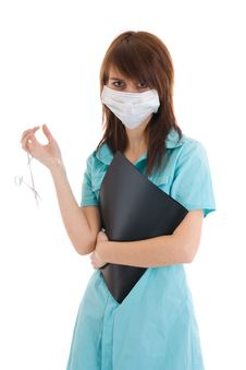 Free The Young Attractive Nurse With A Folder Isolated Stock Photos - 5065463