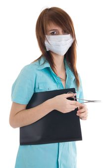 Free The Young Attractive Nurse With A Folder Isolated Stock Photo - 5065500