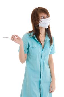 Free The Young Attractive Nurse Isolated On A White Stock Images - 5065504