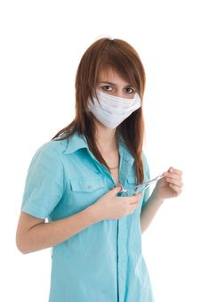 Free The Young Attractive Nurse Isolated On A White Stock Photo - 5065510