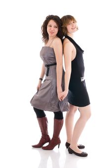 Free Two Young Attractive Girls Isolated On A White Royalty Free Stock Photos - 5065648