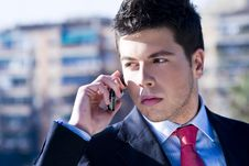 Free Businessman At Phone Royalty Free Stock Image - 5065716