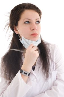 Free The Young Attractive Nurse Isolated On A White Royalty Free Stock Photos - 5065838