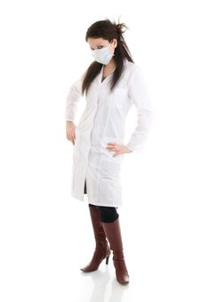 Free The Young Attractive Nurse Isolated On A White Royalty Free Stock Images - 5065849