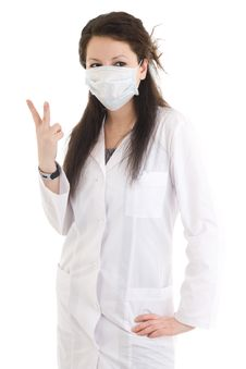Free The Young Attractive Nurse Isolated On A White Stock Photography - 5065852