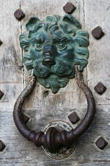 Old Door Knocker On Castle Door Stock Image