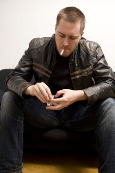 Free Man Smoking A Cigarette Stock Image - 5066231