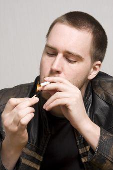 Free Man Smoking A Cigarette Stock Photos - 5066253