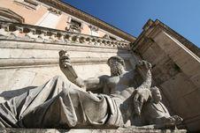 Piazza Del Campidoglio Statue Royalty Free Stock Image