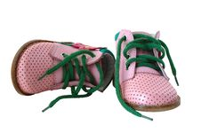 Pink Leather Baby S Boots. Royalty Free Stock Photos
