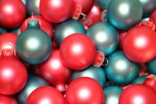 Christmas Ornaments Pink Blue Stock Photos