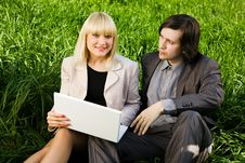 Free Business Couple On The Grass Stock Photo - 5071020