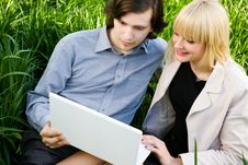 In The Screen Of Laptop Outdoors Stock Photography