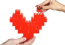 Free Hands Building Red Heart Royalty Free Stock Image - 5071336
