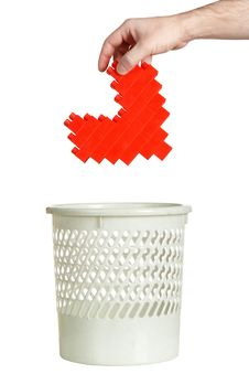 Throwing Heart In Refuse Bin Royalty Free Stock Photo