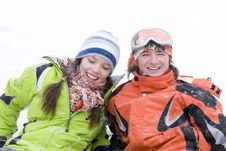 Lifestyle Image Of Two Young A Snowboarders Royalty Free Stock Photo