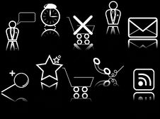Free Set Of Vector Icons With Reflections Royalty Free Stock Image - 5072126