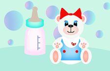 Free Polar Teddy Bear And Baby Bottle Stock Photos - 5072773