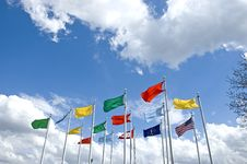 Colorful Flags In The Blue Sky Royalty Free Stock Image
