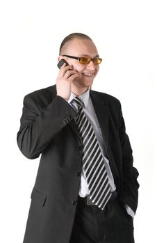 Free Smiling Businessman Calling On Phone Stock Images - 5073994