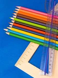 Free Educations Tools - Pencils, Rulers Stock Photos - 5076333