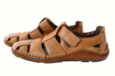 Man S  Leather Brown Shoes. Stock Image