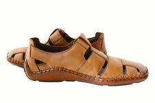 Free Man S  Leather Brown Shoes. Royalty Free Stock Images - 5076479