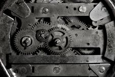 Free Clock Mechanism In B&W Stock Images - 5077794