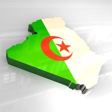 Free 3d Flag Map Of Algeria Stock Images - 5078544