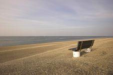 Bench On A Coastline Stock Image