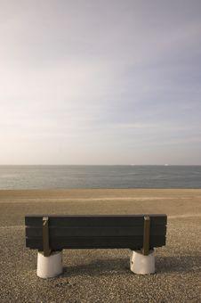Bench On A Coastline Stock Photos