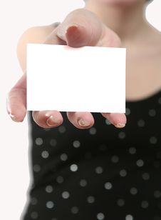 Free White Leaf Of A Paper In A Female Hand Stock Photography - 5080132