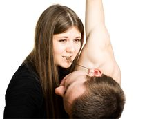 Free Crying Woman Holding Falling Man Stock Image - 5080881