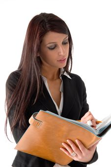 Business Woman Writing A Note Stock Photo