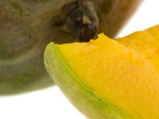 Whole Mango And Slice Macro Stock Images