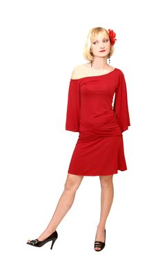Free Standing Blond Woman In Red Dress 15. Royalty Free Stock Images - 5085669