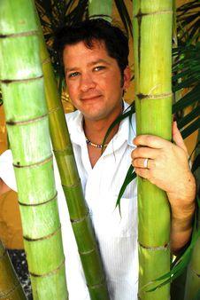 Free Smiling Man Behind Bamboo Stock Photo - 5086930