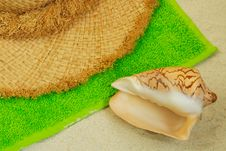 Free Seashell, Straw Hat On Sand Royalty Free Stock Photo - 5087695