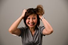 Free Asian Lady In Business Attire, Very Frustrated Stock Image - 5089121