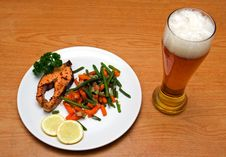 Free Light Beer And Salmon Stock Photo - 5089320