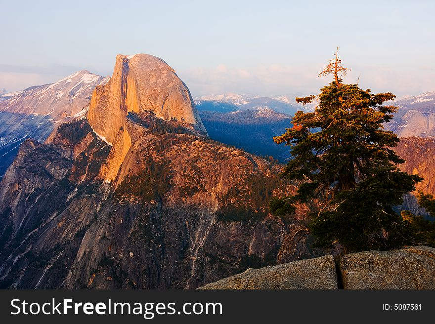 Half Dome at sunset in Yosemite