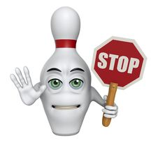 3D Cartoon Bowling Pin Holding A Stop Sign Stock Photography