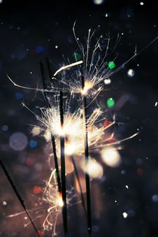 Free Heart Bokeh And Sparkler Royalty Free Stock Image - 50863566