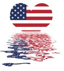 Free Love The  USA / US Flag With Reflection Royalty Free Stock Photo - 5090055