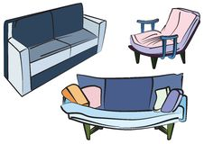 Sofa Group Objects Stock Images