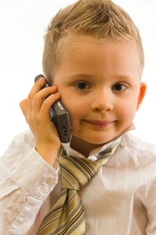 Free Child Talking Via Cellphone Stock Images - 5091284