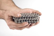 Hands With Metal Link Chain Royalty Free Stock Image