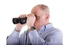 Free Old Guy In Blue Shirt Looking Right Binoculars Stock Image - 5091901